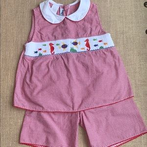 EUC Silly Goose smocked top and short set